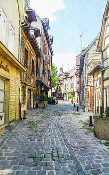 Medieval street in the city of Troyes by Kai Saarto