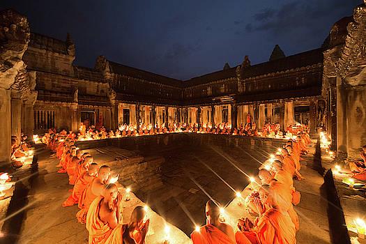 Meditation, Monks, Angkor Wat by Darren Wilch