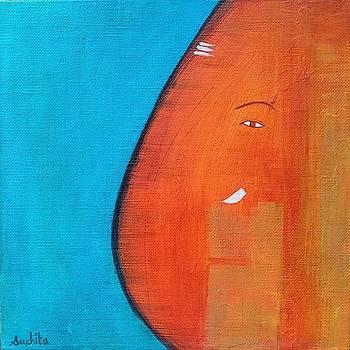 Meditative Lord Ganesha in Orange Blue by Suchita Pawar