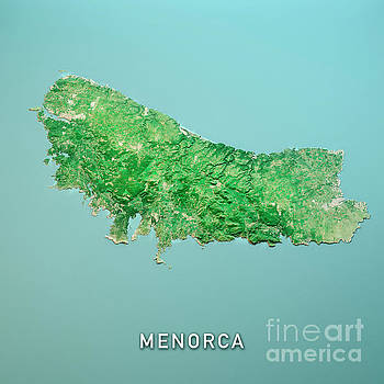 Frank Ramspott - Menorca Island 3D Render Topo Landscape View From North Mar 2019