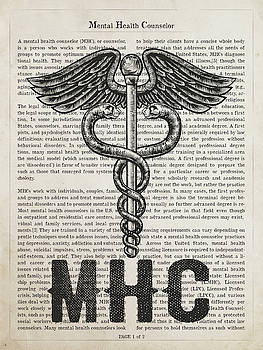 Mental Health Counselor Gift Idea With Caduceus Illustration 01 by Aged Pixel