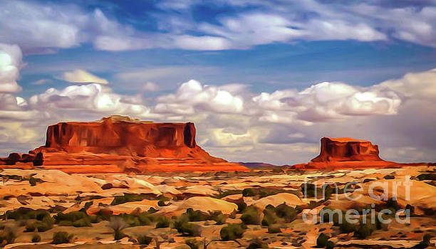 Merrimack and Monitor Buttes - Photopainting by Bob Lentz
