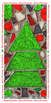 Merry Christmas Stain Glass Tree by Jennifer Stackpole