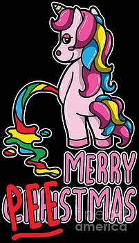 Merry Christmas Unicorn Merry PEEstmas Funny Pun Gift by Festivalshirt
