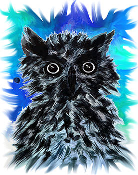 Messy Owl in color by Abstract Angel Artist Stephen K