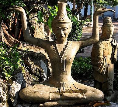 New Reusi Dat Ton Statue at Wat Po, Bangkok, Thailand by David Wells