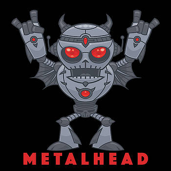 Metalhead - Heavy Metal Robot Devil - With Text by John Schwegel