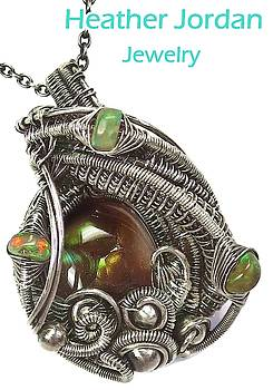 Mexican Fire Agate Wire-Wrapped Pendant in Antiqued Sterling Silver with Ethiopian Welo Opals by Heather Jordan