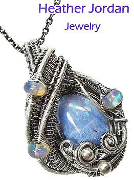 Mexican Tizate Opal Wire-Wrapped Pendant in Antiqued Sterling Silver with Ethiopian Welo Opals by Heather Jordan