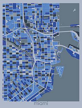 Miami Map Retro 5 by Bekim M