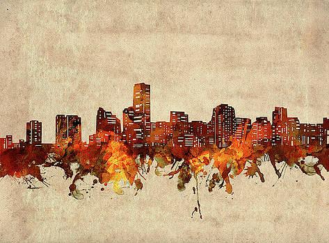Miami Skyline Sepia by Bekim Art