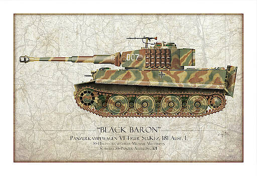 Michael Wittmann Tiger Tank 007 - Map Background by Craig Tinder