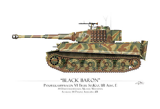 Michael Wittmann Tiger Tank 007 - White Background by Craig Tinder
