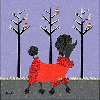 Mid Century Modern Black Poodle Winter by Donna Mibus