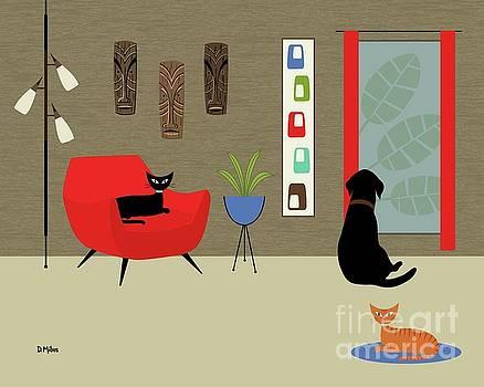 Mid Century Modern Lab in Red by Donna Mibus