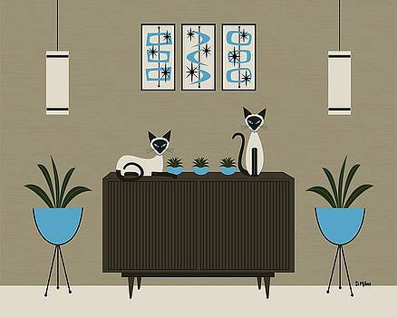 Mid Century Modern Siamese Cats by Donna Mibus