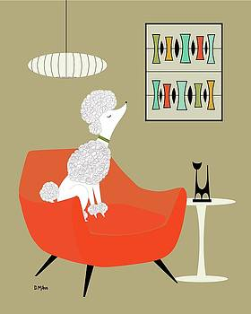 Mid Century Modern White Poodle by Donna Mibus