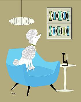 Mid Century White Poodle by Donna Mibus