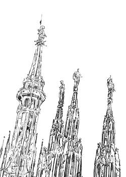 Andrea Gatti - Milan Cathedral spires drawing