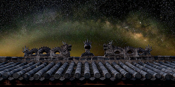 Milky Way Arch over Chinese Temple Roof by William Dickman