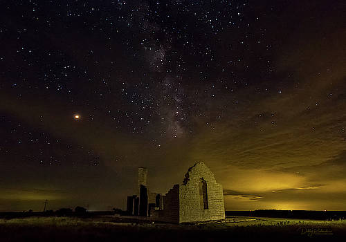 Milky Way over historic Fort Griffin Ruins by Debby Richards