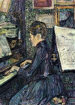 Mille. Dihau Playing the Piano - 1890 - Musee Toulouse-Lautrec - Albi - Painting - oil on canvas by Henri de Toulouse-Lautrec