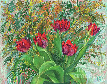 Mimosa and Tulips, Spring Flowers by Julia Khoroshikh