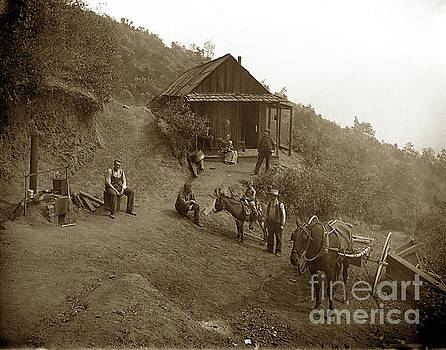 California Views Archives Mr Pat Hathaway Archives - Miners cabin and family with outdoor stove Circa 1903