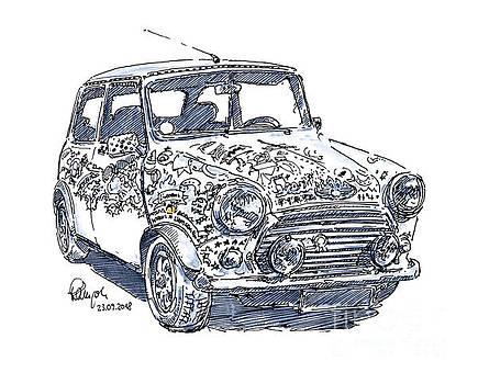 Frank Ramspott - MINI Cooper Classic Car Ink Drawing and Watercolor