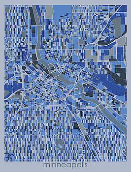 Minneapolis Map Retro 5 by Bekim M