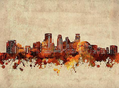 Minneapolis Skyline Sepia by Bekim Art
