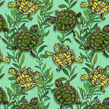 Robert Phelps - Minty Green Slider Turtle Pattern by Robert Phelps