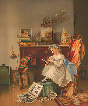 Miss Oakley Making The Scrapbook 1866 by Zal Latzkovich