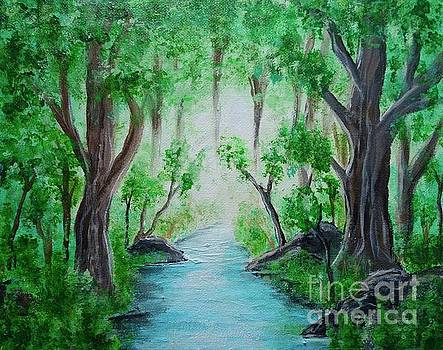 Misty Forest Stream by Jacqueline Athmann