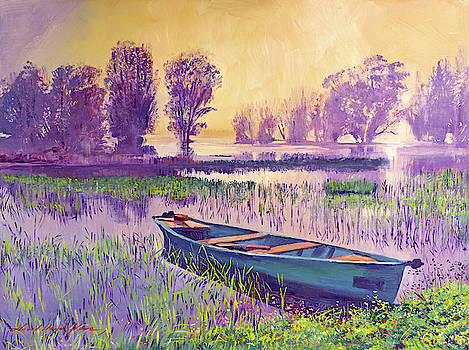 Misty Lake Morning by David Lloyd Glover