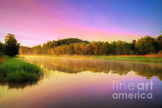 Misty river by Veikko Suikkanen