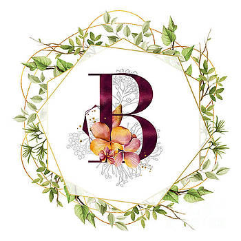 Tina Lavoie - Modern Botanical Floral Geometric Monogram B