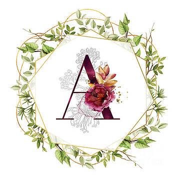 Tina Lavoie - Modern Botanical Floral Monogram A Feminine Design