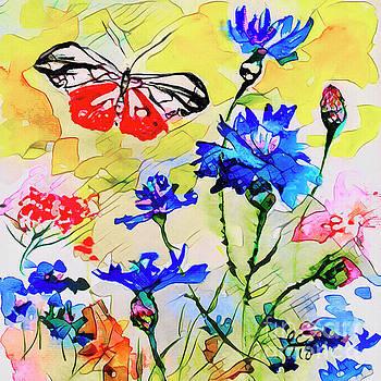 Ginette Callaway - Modern Floral Art Butterfly Cornflowers