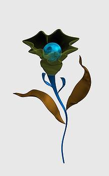 Modern flower with blue sphere by Alberto RuiZ