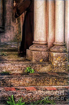 Monk Behind Columns by Jill Battaglia