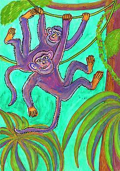 Monkeys on creepers by Dobrotsvet Art