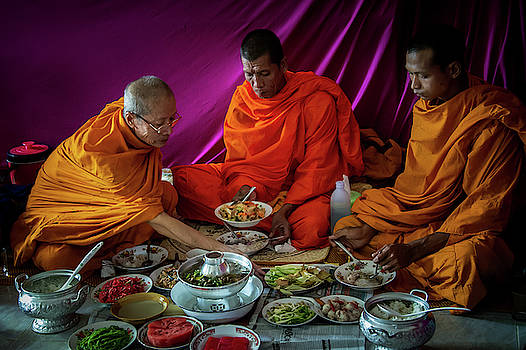 Monks Share a Meal by Lee Craker