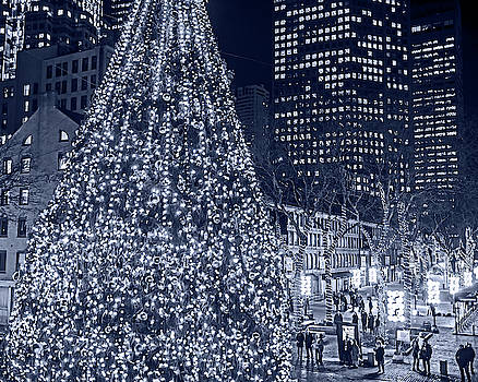 Toby McGuire - Monochrome Blue Nights Faneuil Hall Christmas Tree 2018 Boston MA