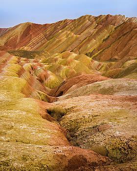 Monoclinic Limestones Rainbow Mountains Zhangye Gansu China by Adam Rainoff