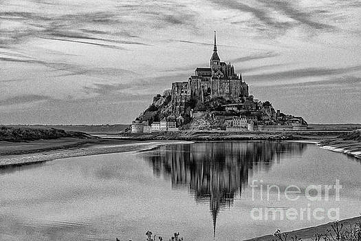 Wayne Moran - Mont Saint Michel France Evening Reflections BW