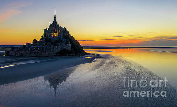Mont St Michel Sunset Reflection by Mike Reid