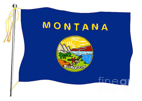 Montana State Waving Flag And Flagpole by Bigalbaloo Stock