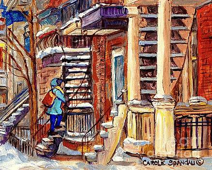 Montreal Staircase Scene Girl With Blue Jacket Canadian Winter Steps C Spandau Plateau To Verdun     by Carole Spandau