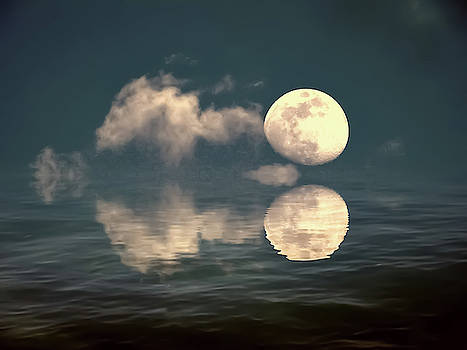 Moon And Cloud Reflections by Kathy Gail